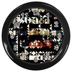 Art Design Color Banner Wallpaper Wall Clocks (black)