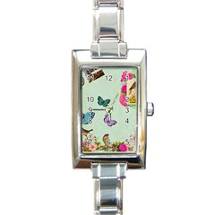 Whimsical Shabby Chic Collage Rectangle Italian Charm Watch by 8fugoso