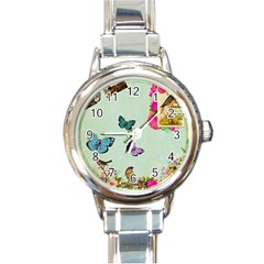 Whimsical Shabby Chic Collage Round Italian Charm Watch by 8fugoso