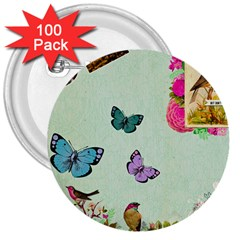 Whimsical Shabby Chic Collage 3  Buttons (100 Pack)