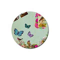 Whimsical Shabby Chic Collage Rubber Coaster (round)  by 8fugoso