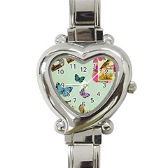 Whimsical Shabby Chic Collage Heart Italian Charm Watch by 8fugoso