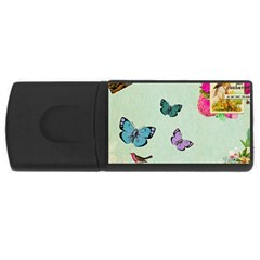 Whimsical Shabby Chic Collage Rectangular Usb Flash Drive by 8fugoso
