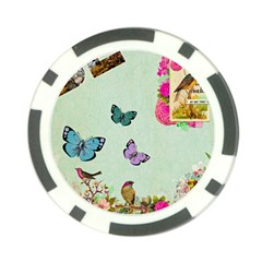 Whimsical Shabby Chic Collage Poker Chip Card Guard (10 Pack) by 8fugoso