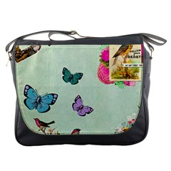 Whimsical Shabby Chic Collage Messenger Bags by 8fugoso
