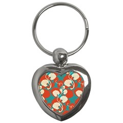 Floral Asian Vintage Pattern Key Chains (heart)  by 8fugoso