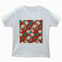 Floral Asian Vintage Pattern Kids White T Shirts by 8fugoso