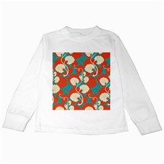 Floral Asian Vintage Pattern Kids Long Sleeve T Shirts by 8fugoso