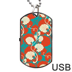 Floral Asian Vintage Pattern Dog Tag Usb Flash (two Sides) by 8fugoso