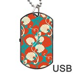 floral asian vintage pattern Dog Tag USB Flash (Two Sides) Front