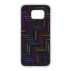Lines Line Background Samsung Galaxy S7 Edge White Seamless Case