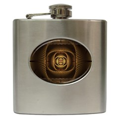Fractal Copper Amber Abstract Hip Flask (6 Oz) by Celenk