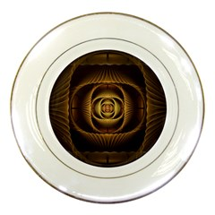 Fractal Copper Amber Abstract Porcelain Plates
