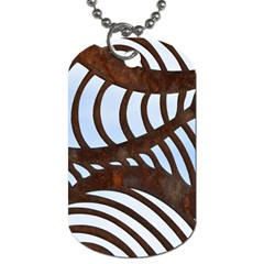 Grid Sky Pattern Blue Industrial Dog Tag (two Sides)