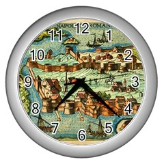 Medeival Ancient Map Fortress Wall Clocks (silver)