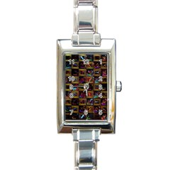 Kaleidoscope Pattern Abstract Art Rectangle Italian Charm Watch by Celenk