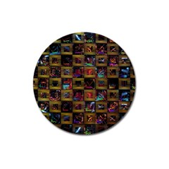 Kaleidoscope Pattern Abstract Art Magnet 3  (round) by Celenk