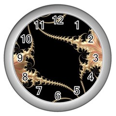 Fractal Art Design Pattern Texture Wall Clocks (silver)  by Celenk