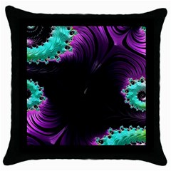 Fractals Spirals Black Colorful Throw Pillow Case (black) by Celenk