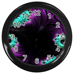 Fractals Spirals Black Colorful Wall Clocks (black) by Celenk