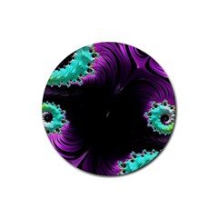 Fractals Spirals Black Colorful Rubber Round Coaster (4 Pack)  by Celenk
