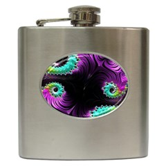 Fractals Spirals Black Colorful Hip Flask (6 Oz) by Celenk