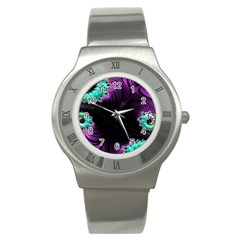 Fractals Spirals Black Colorful Stainless Steel Watch by Celenk