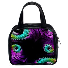 Fractals Spirals Black Colorful Classic Handbags (2 Sides)