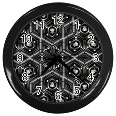 Design Art Pattern Decorative Wall Clocks (black)