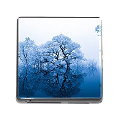 Nature Inspiration Trees Blue Memory Card Reader (square) by Celenk