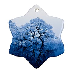 Nature Inspiration Trees Blue Snowflake Ornament (two Sides) by Celenk
