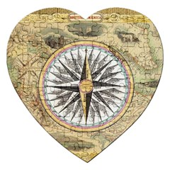 Map Vintage Nautical Collage Jigsaw Puzzle (heart) by Celenk