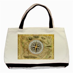 Map Vintage Nautical Collage Basic Tote Bag