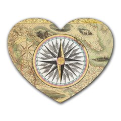 Map Vintage Nautical Collage Heart Mousepads