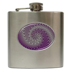 Graphic Abstract Lines Wave Art Hip Flask (6 Oz) by Celenk