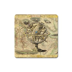Map Compass Nautical Vintage Square Magnet