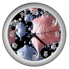 Fractal Art Design Fantasy Science Wall Clocks (silver)  by Celenk