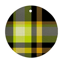 Tartan Abstract Background Pattern Textile 5 Ornament (round) by Celenk