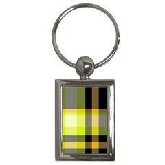 Tartan Abstract Background Pattern Textile 5 Key Chains (rectangle)