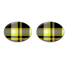 Tartan Abstract Background Pattern Textile 5 Cufflinks (oval) by Celenk
