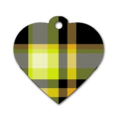 Tartan Abstract Background Pattern Textile 5 Dog Tag Heart (one Side)