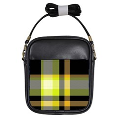 Tartan Abstract Background Pattern Textile 5 Girls Sling Bags