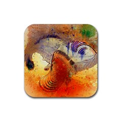 Dirty Dirt Image Spiral Wave Rubber Square Coaster (4 Pack)