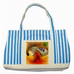 Dirty Dirt Image Spiral Wave Striped Blue Tote Bag by Celenk
