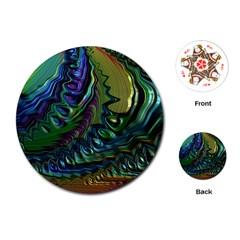 Fractal Art Background Image Playing Cards (round)