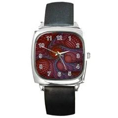 Fractal Red Fractal Art Digital Art Square Metal Watch