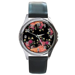 Fractal Fantasy Art Design Swirl Round Metal Watch by Celenk