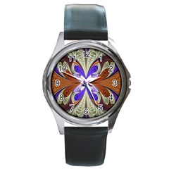 Fractal Splits Silver Gold Round Metal Watch by Celenk