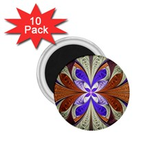 Fractal Splits Silver Gold 1 75  Magnets (10 Pack)  by Celenk