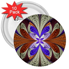 Fractal Splits Silver Gold 3  Buttons (10 Pack)